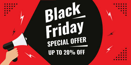Special offer Black friday sale background banner with 20 percent discount letter and hand holding white horn isolated on red background.
