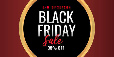 End of season Black friday sale background banner with 30 percent discount letter and golden round shape.
