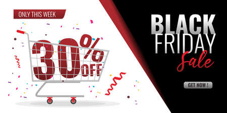 Black friday sale background with trolley and 30 percent discount off. Black red white background and festive ornament