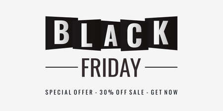 Black Friday special offer 30 percent discount. Black and white lettering isolated on white background Ilustracja