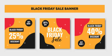 Three set of red, black and yellow Black friday sale background banner with 25, 30 and 40 percent discount. Ilustracja