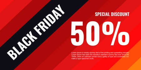 Black friday sale background banner with 50 percent discount word isolated on red black background for social media, website and online promotion. Ilustracja