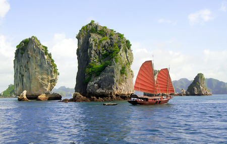 Ha Long Bay, a world natural heritage. Quang Ninh province in, Vietnam 版權商用圖片