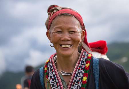 SAPA. VIETNAM, February 11, 2016 Dao ethnic woman smile, highland Sapa, Vietnam
