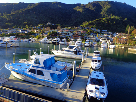 Beautiful Harbor of Picton New Zealand. Turquoise Ocean with Yachts and Boats Stock fotó