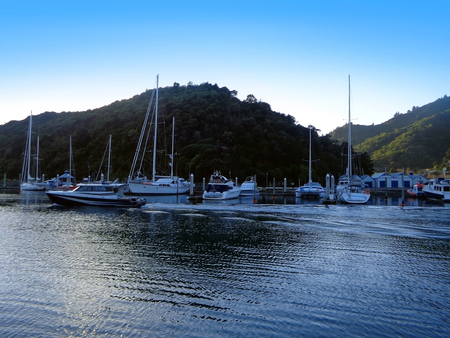 Beautiful Harbor of Picton New Zealand. Turquoise Ocean with Yachts and Boats Stock Photo
