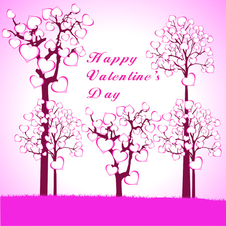 Valentines day greeting card with hearts and lacy ribbon Vector