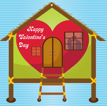 happy valentines day cards kissing on window in Happy house Vector
