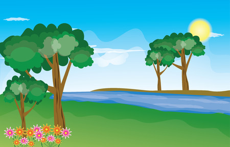 Green Landscape with trees clouds flowers and mountains Vector Illustration