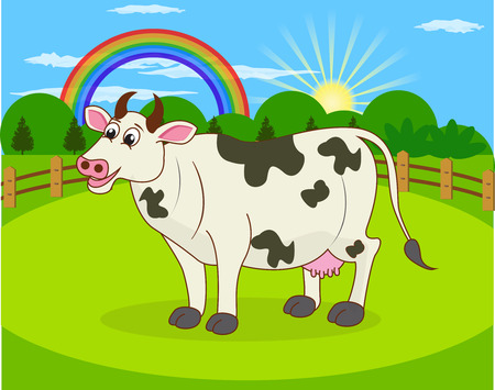 Cartoon cow and rural meadow with green grass on the mountain background  Natural landscape  Illustration