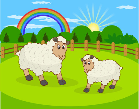 Cartoon sheep and rural meadow with green grass on the mountain background  Natural landscape  Vector