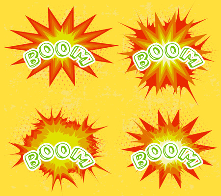 Boom. Comic book explosion set Vector