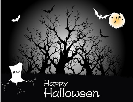 Halloween party full moon, vector illustration Vector