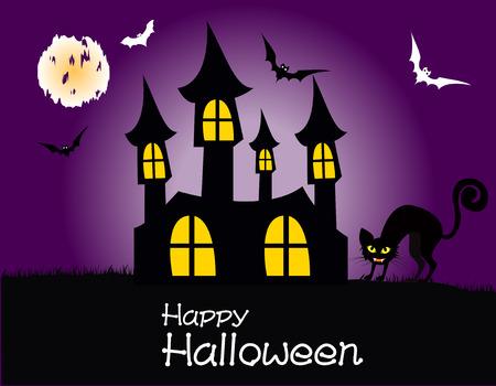 volle maan: Halloween house party volle maan, vector illustratie