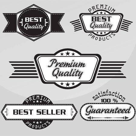 grunge banner: Black and white Vintage premium quality labels set.