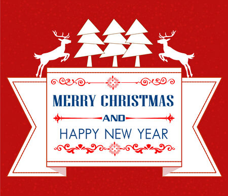 viewfinderchallenge1: Vintage Christmas card with tree and ornaments, Xmas card