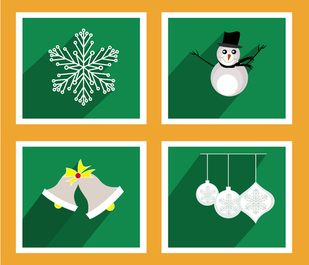 Set of elements for Christmas and New Year greeting cards Vector