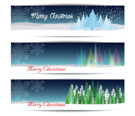 christmas banner: Merry Christmas banners set design, vector illustration