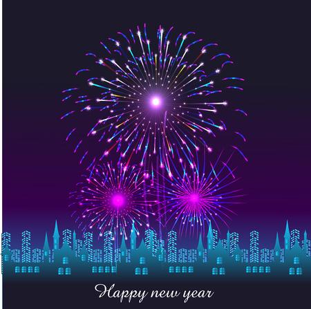Gelukkig Nieuwjaar met vuurwerk achtergrond vector illustratie
