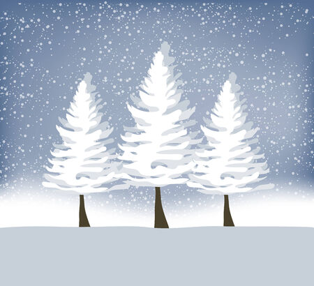 winter tree: Holiday winter landscape background with winter tree