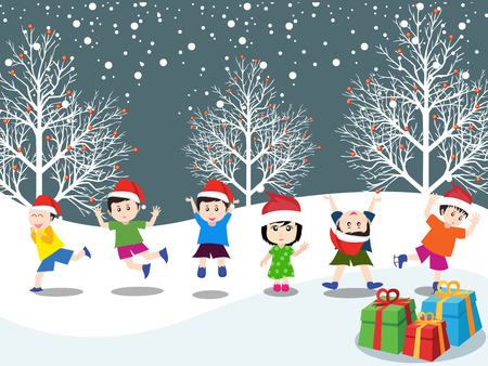 caroler: Merry christmas with happy kids
