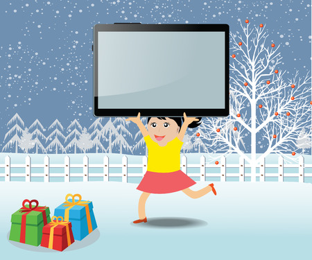 caroler: Merry christmas with happy kids and tablet