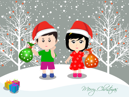 caroler: Merry christmas with happy kids and Gift