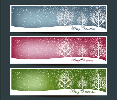 Vrolijk Kerstfeest banners set ontwerp, vector illustratie