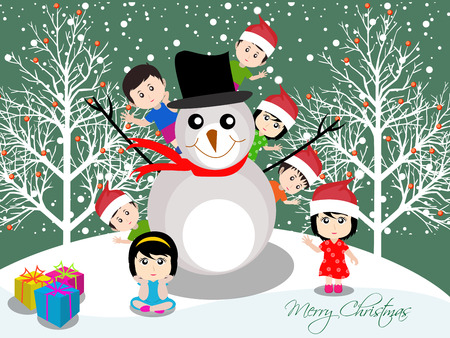 caroler: Merry christmas with happy kids with snowman