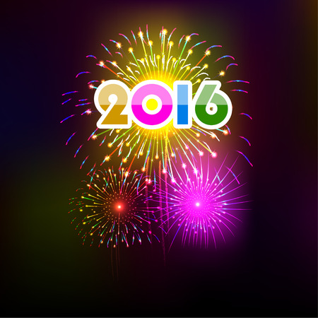 10 years: Happy New Year 2016 with fireworks background