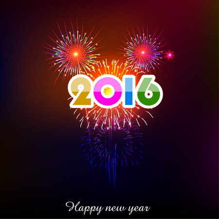 new year greetings: Happy New Year 2016 with fireworks background