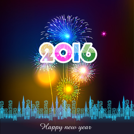 new year card: Happy New Year 2016 with fireworks background