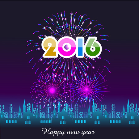 new year background: Happy New Year 2016 with fireworks background