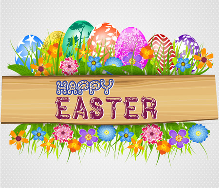 The Easter with eggs and wood sign board Vector