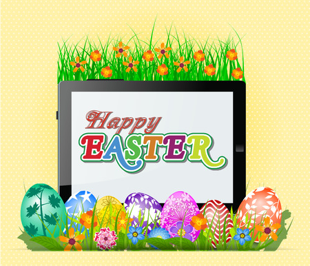 Happy Easter with eggs and tablet Vector