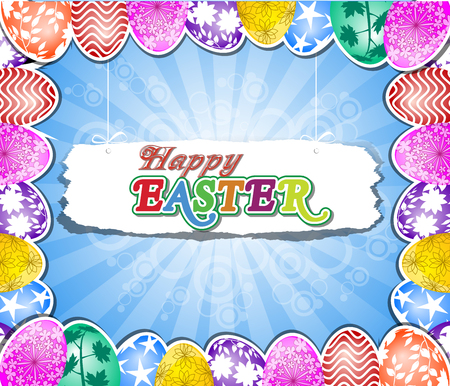 Happy Easter with eggs Vector