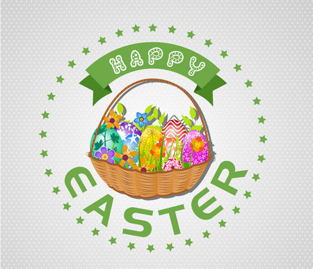 eco flowers basket: Easter card with eggs and basket