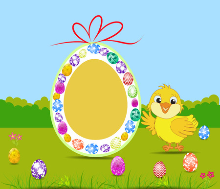 hatchling: Happy Easter card with eggs and chick