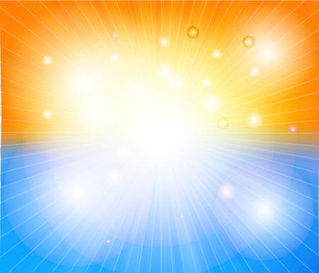 Hot sun lights, abstract summer background vector illustration