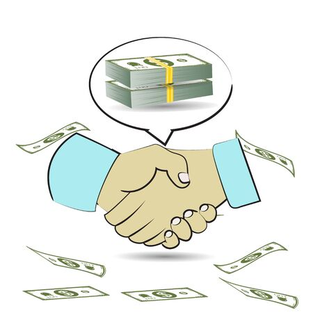handshake creating money Vector