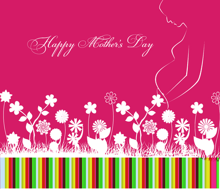 flower clip art: Happy Mothers Day celebration with flower Illustration