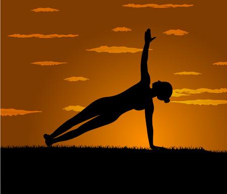 girl makes yoga exercise at the gloaming Illustration