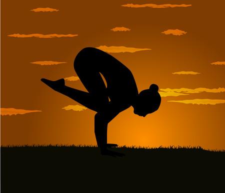 aerobics class: girl makes yoga exercise at the gloaming Illustration