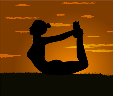 gloaming: girl makes yoga exercise at the gloaming Illustration