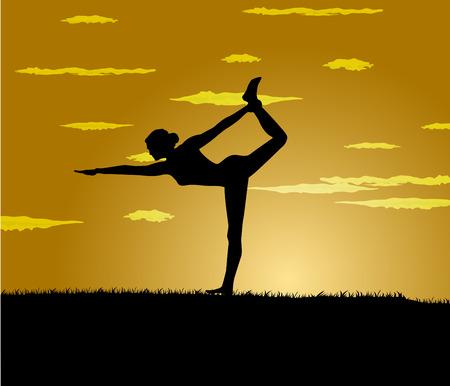 gloaming: girl makes yoga exercise at the gloaming Illustration