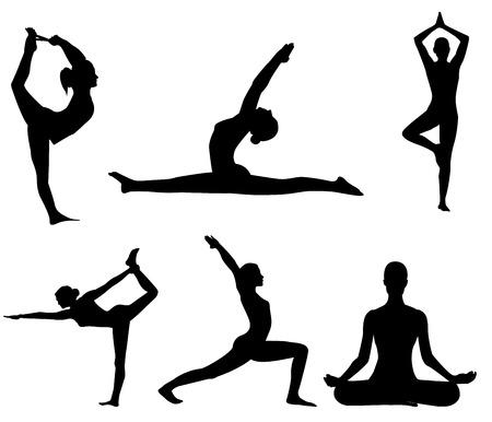 meisje maakt yoga oefening Stock Illustratie