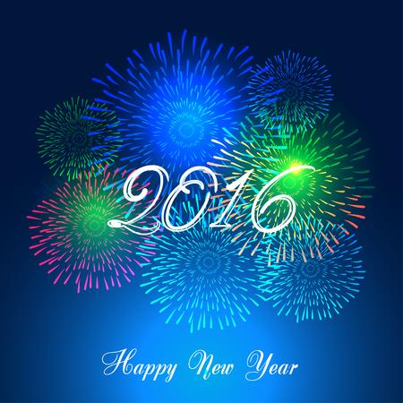 Gelukkig Nieuwjaar vuurwerk 2016 vakantie achtergrond ontwerp Stock Illustratie