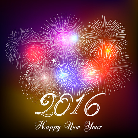 Happy new year fireworks 2016 holiday background design