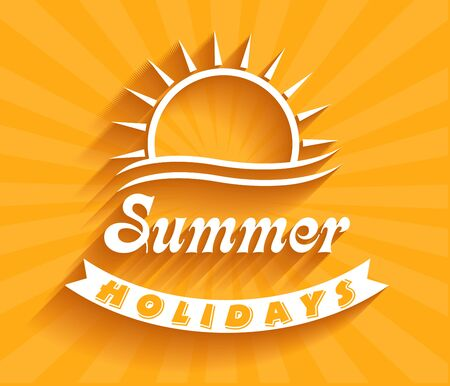 Retro summer holidays  labels and signs Vector illustration design elements. Vector