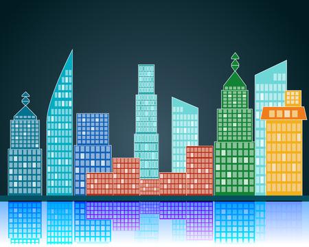 nightfall: vector city Illustration